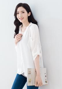 兩件式條紋雪紡襯衫