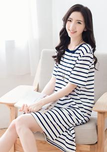 韓版休閒條紋長版上衣