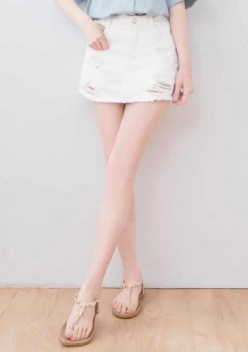 休閒純色刷破短褲裙
