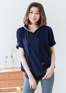 韓版字母設計寬版上衣