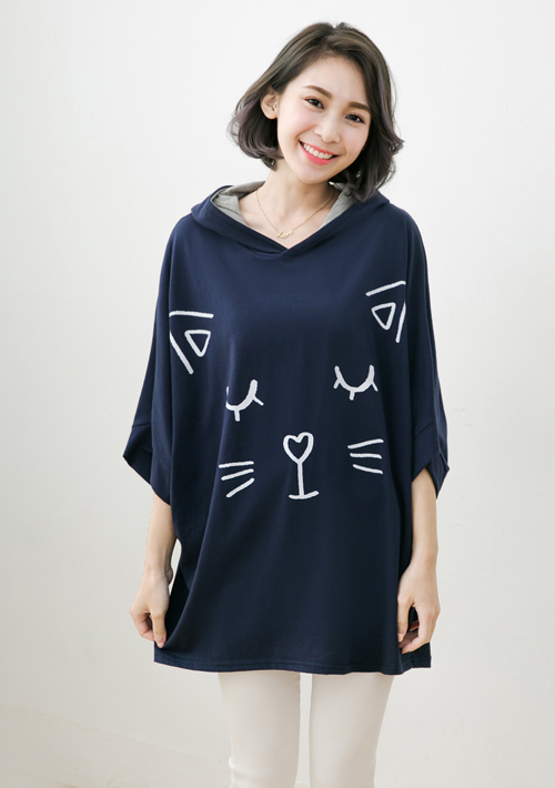 貓咪舒棉寬版連帽上衣