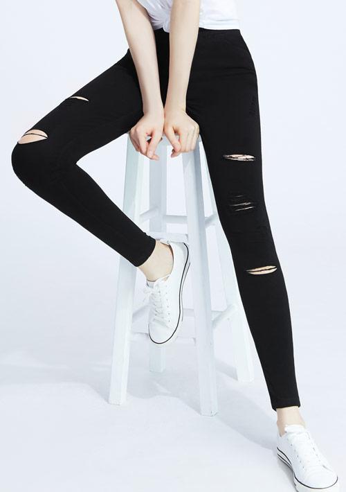 割破有型修長彈性窄管褲