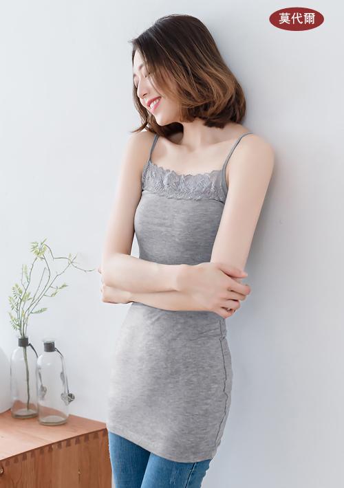【限時1+1 單件$109】柔軟莫代爾蕾絲細肩背心