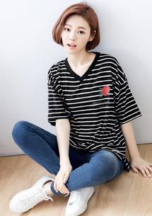 韓系玫瑰V領條紋上衣