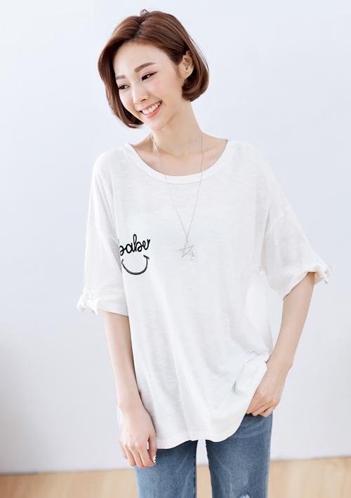 微笑造型袖棉質上衣