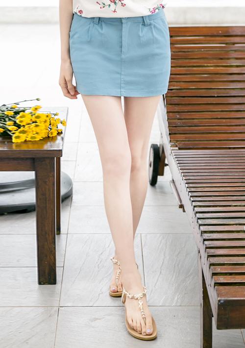 俏麗玩色壓摺褲裙