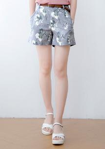渲染花繪挺版短褲-附皮帶