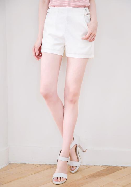雙釦環斜口袋西裝短褲