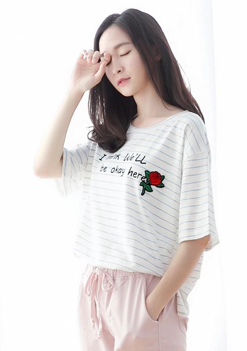 玫瑰繡花條紋棉質上衣