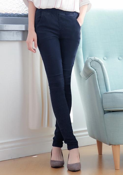 繡線雪花彈力窄管褲