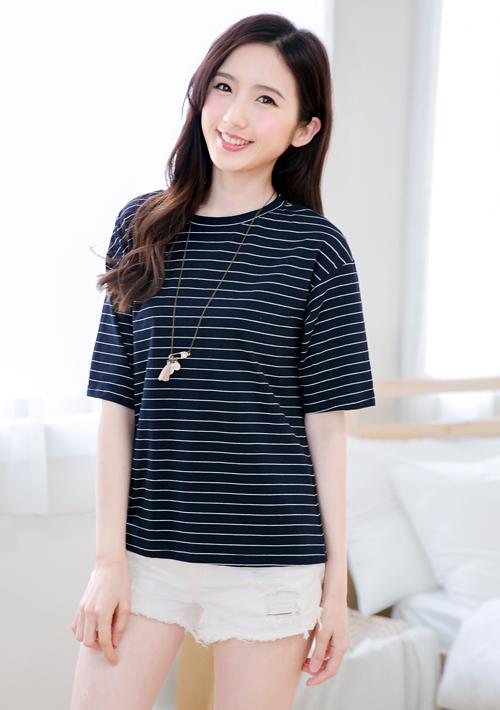 韓系條紋棉質上衣