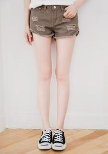 多色破損造型牛仔短褲