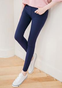 涼感鉛筆褲-深藍