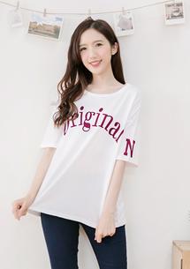 韓款字母印花袖寬版上衣