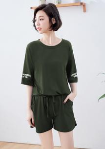 韓款設計印花袖棉質套組