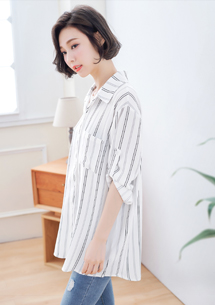 簡單雙配色直條紋襯衫
