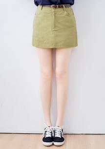 夏日色系卡其褲裙-附皮帶