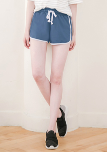 配色邊條棉質短褲