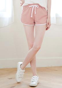 配色邊條修身棉質短褲