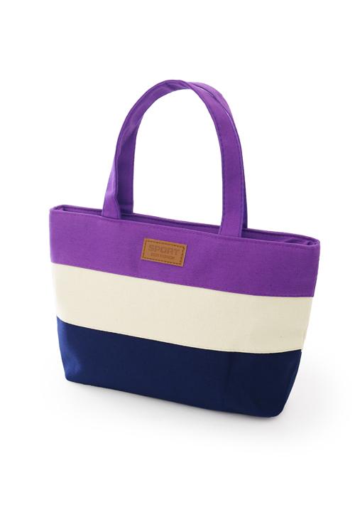 清新質感配色帆布手提包