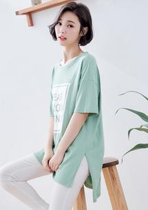 韓式印圖落肩側開衩上衣