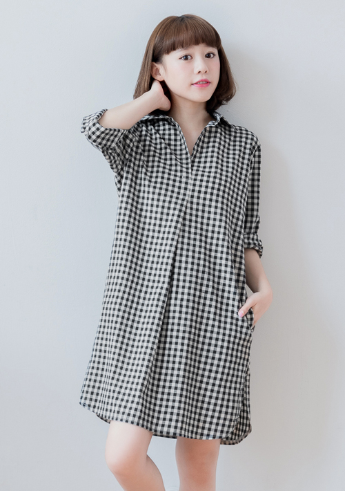 簡約格紋棉麻洋裝