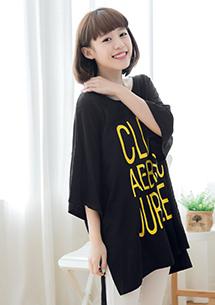 韓式英文側開衩棉質上衣