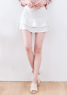 浪漫蕾絲質感褲裙