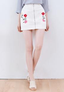 玫瑰刺繡拉鍊造型褲裙