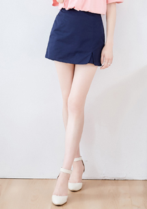 優雅純淨開衩褲裙