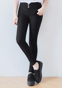 雙釦激瘦彈力窄管褲