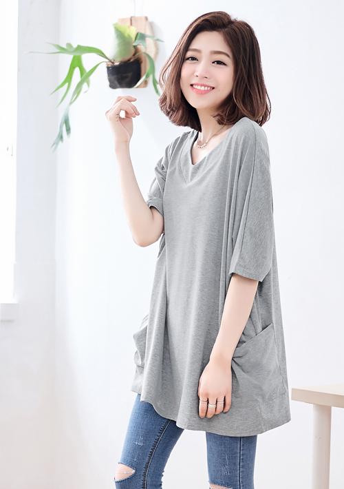 韓版V領雙口袋寬版上衣