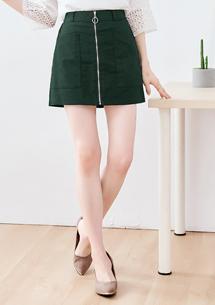 拉鍊設計雙口袋A字褲裙