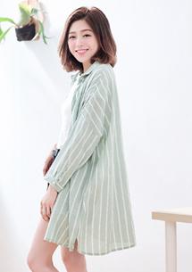 簡約直條紋棉麻襯衫