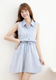 輕夏條紋綁帶襯衫領洋裝