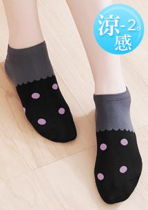 涼感細柔繽紛點點短襪