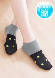 涼感點點短襪