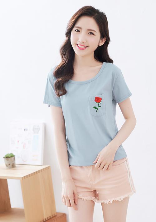 玫瑰刺繡口袋棉質上衣