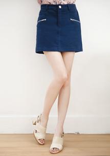 雙拉鍊造型卡其短褲裙