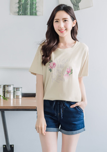 韓款字母玫瑰棉質上衣