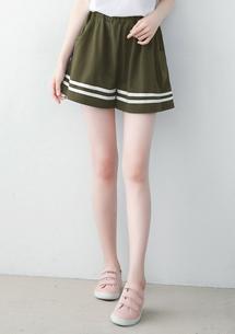 休閒質感織帶寬褲裙