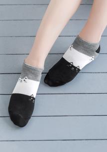 貓咪配色舒適短襪