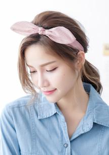 清新條紋蝴蝶結髮帶
