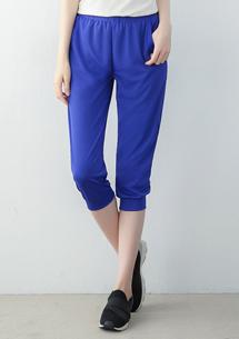 抗UV吸排休閒七分褲-寶藍