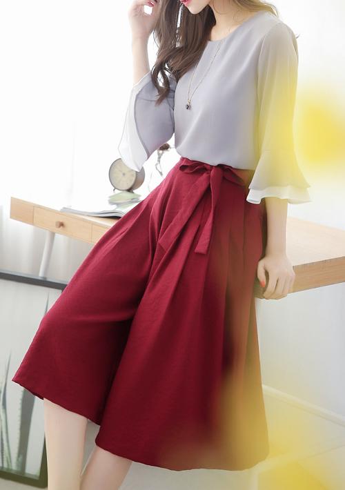 知性美感寬褲裙-附綁帶