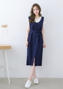 清新開衩長洋裝-附綁帶