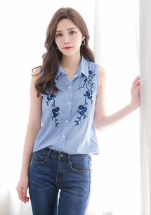 雕花條紋棉質襯衫