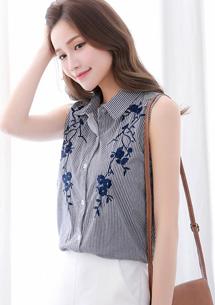 復古雕花直條紋棉質襯衫