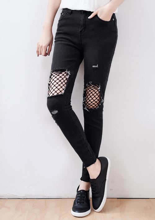 歐美風範網格刷破牛仔褲