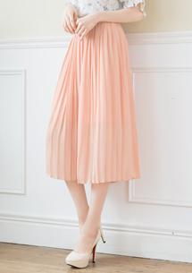 韓系百摺雪紡寬褲裙